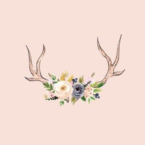 Blush and Blue Antlers and Flowers