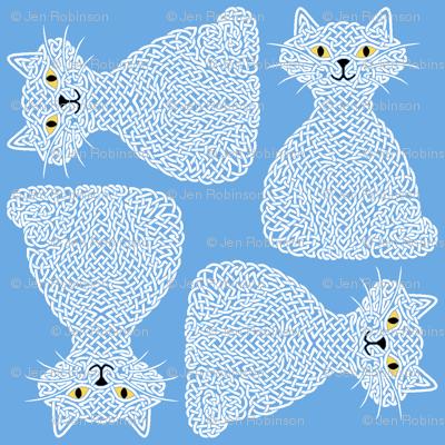 Knotty Cat - white on blue, big