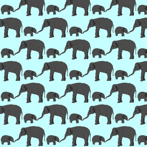 Elephant mom and baby in blue