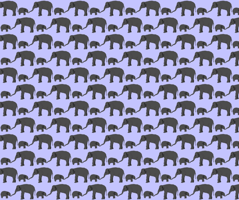 Elephant mom and baby in purple fabric by combatfish on Spoonflower - custom fabric