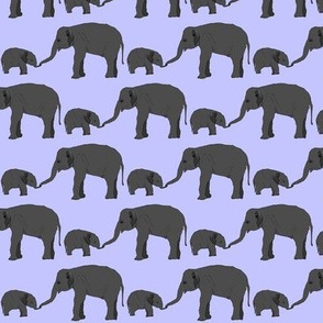 Elephant mom and baby in purple