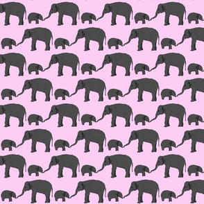 Elephant mom and baby in pink