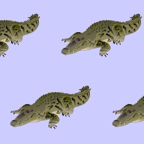 Resting Crocodile in purple fabric by combatfish on Spoonflower - custom fabric