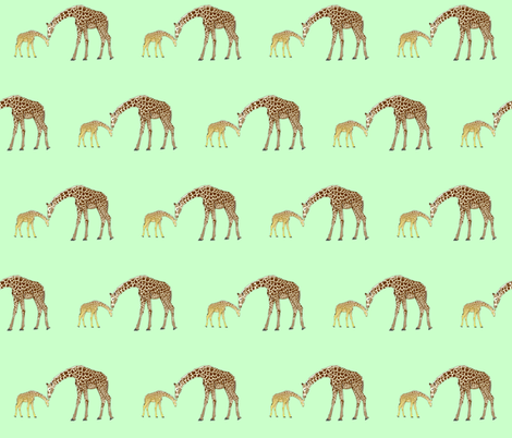 Mom and baby giraffe in green fabric by combatfish on Spoonflower - custom fabric