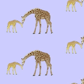 Mom and baby giraffe in purple