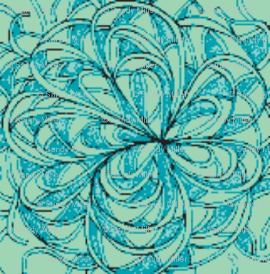 Spaghetti flower-blue/green