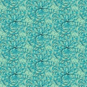 Spaghetti flower-blue/green