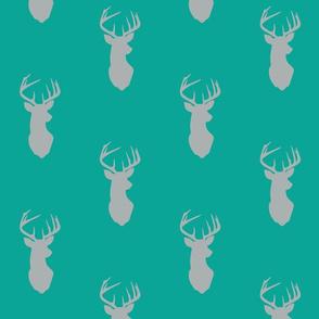 deer head - grey on custom teal - C18BS