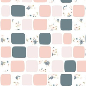 Light Floral In Brick - Blush and Blue Floral Collection