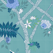 Peony Branch Mura- Sea Green and Blue