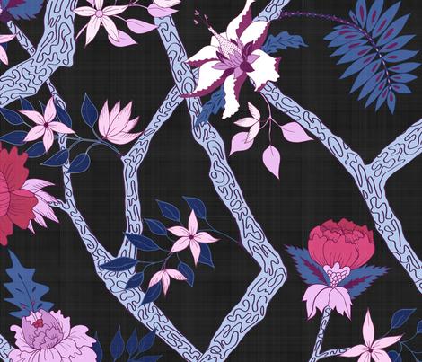 Peony Branch Mural on Black fabric by danika_herrick on Spoonflower - custom fabric