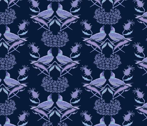 Henslow's Sparrows- Singing in the Milkweed fabric by katie_hayes on Spoonflower - custom fabric