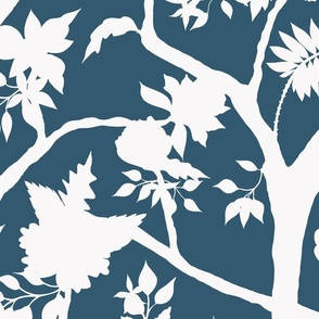 Silhouette Peony Branch Mural- Dark Blue