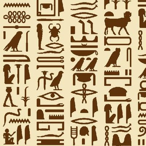 Egyptian Hieroglyphics in Brown & Tan // Large
