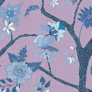 Peony Branch Mural- Lilac and Blues