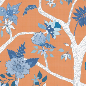 peony Branch Blue and White on Orange