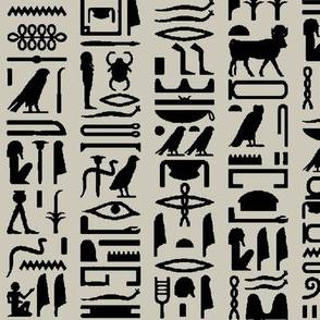 Egyptian Hieroglyphics on Light Taupe // Large