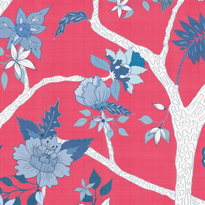 Peony Branch Mural- Blue & White on Cherry