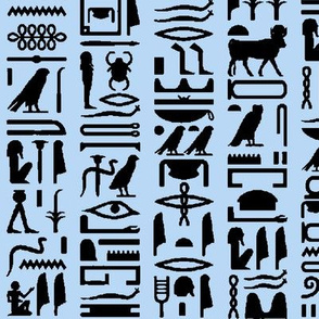 Egyptian Hieroglyphics on Light Blue // Large