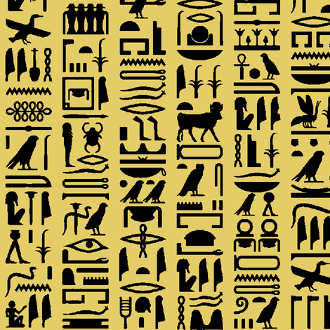Egyptian Hieroglyphics - Sand // Small fabric by thinlinetextiles on Spoonflower - custom fabric