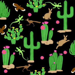 Southwest desert cactus black