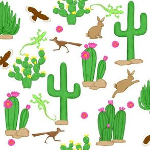 Southwest desert cactus teal white