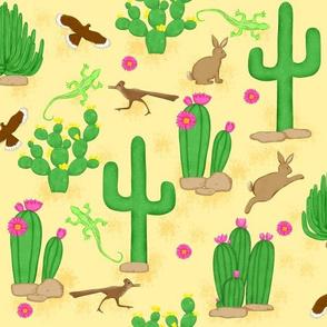 Southwest desert cactus yellow