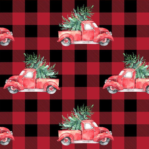 "12"" Vintage Christmas Trucks // Buffalo Check"