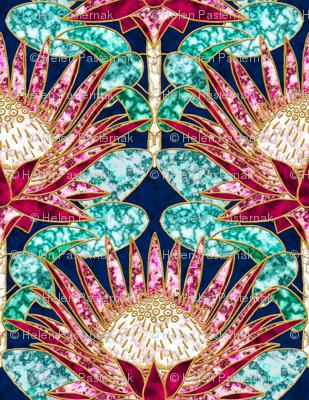 Magenta King Protea Art Deco (navy)