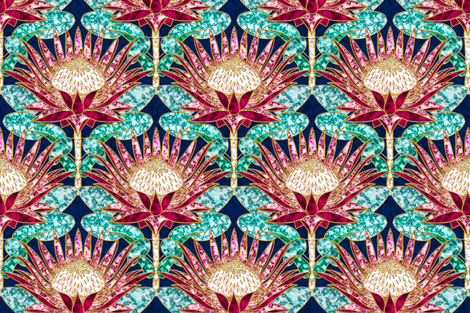 Magenta King Protea Art Deco (navy) fabric by helenpdesigns on Spoonflower - custom fabric