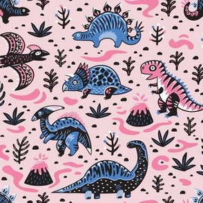 Pink and violet cartoon dinosaurs