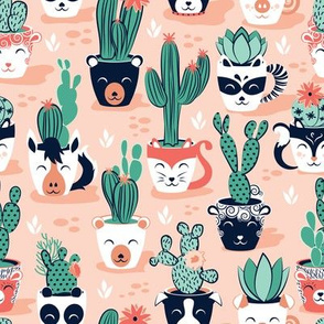 Cacti and succulents cuddly pots // blush background navy white and terracota animal vessels green green sage cactus