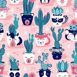 Cacti and succulents cuddly pots // pink background navy white and rose animal vessels green teal cactus