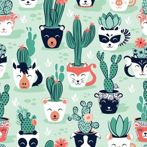 Cacti and succulents cuddly pots // mint background navy white and terracota animal vessels green sage cactus