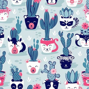 Cacti and succulents cuddly pots // teal background navy white and pink animal vessels green teal cactus