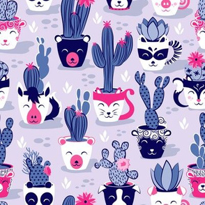 Cacti and succulents cuddly pots // lavender background navy white and pink animal vessels violet cactus