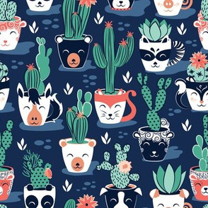 Cacti and succulents cuddly pots // marine blue background navy white and terracota animal vessels green sage cactus