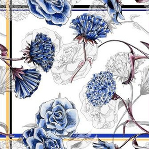 White & Blue Carnations