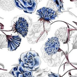 White &  Blue Carnations Plain