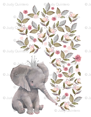 """56""""x72"""" Baby Elephant with Flowers & Crown"""
