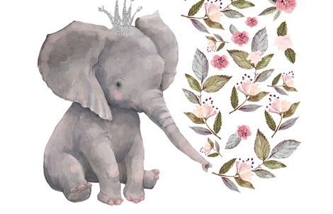 """56""""x72"""" Baby Elephant with Flowers & Crown fabric by shopcabin on Spoonflower - custom fabric"""