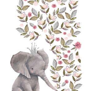 "56""x72"" Baby Elephant with Flowers & Crown"
