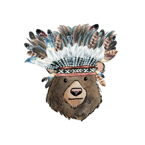 "10"" Illustration inside 14""x18"" / Chief Bear 6 to 1 yard of 42"" wide fabric"