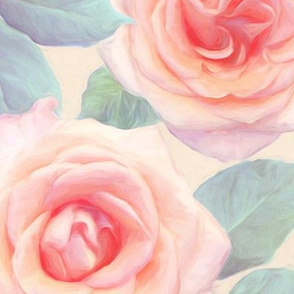 Over sized Opal Pink and Peach Painted Roses