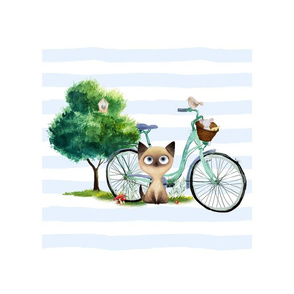 """10"""" illustration inside a 14""""x18"""" / Kitty with Bike Thick Blue Stripes"""