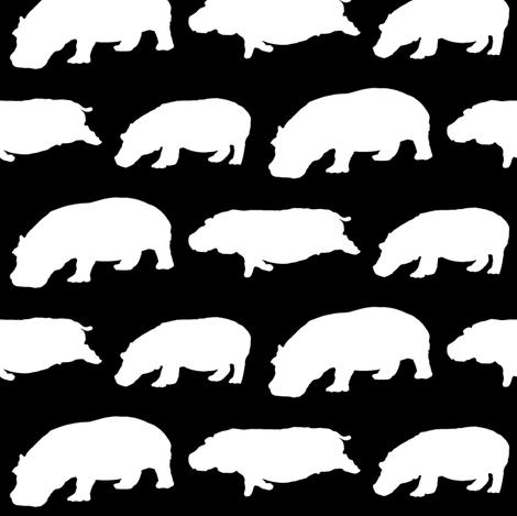 3 Hippos in black  fabric by combatfish on Spoonflower - custom fabric