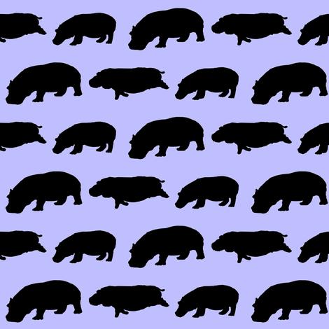 3 hippopotamus shadows in purple fabric by combatfish on Spoonflower - custom fabric