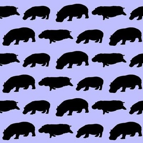 3 hippopotamus shadows in purple