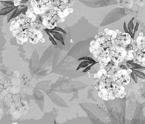 Peonies in Black and White fabric by reneeciufo on Spoonflower - custom fabric