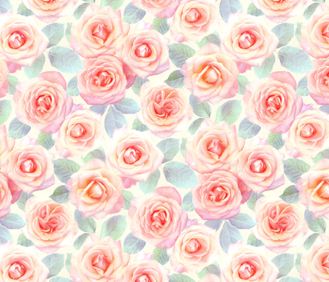 Over sized Faded Pink and Peach Painted Roses fabric by micklyn on Spoonflower - custom fabric